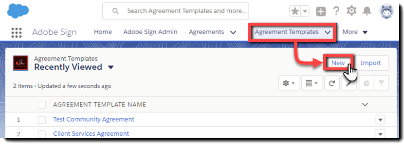 Navigate to New Agreement Templates