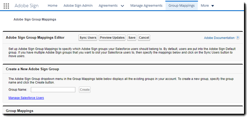 Group Mapping tab in Salesforce