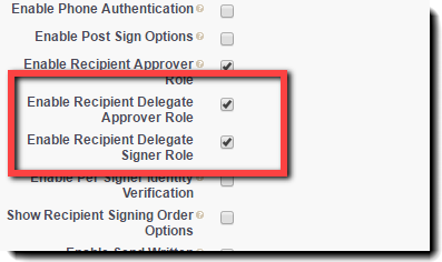 Settings for Delegators