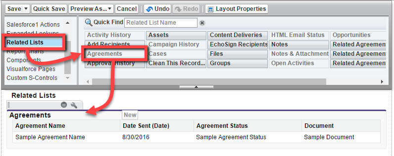 Add the Agreement object from the Related Lists