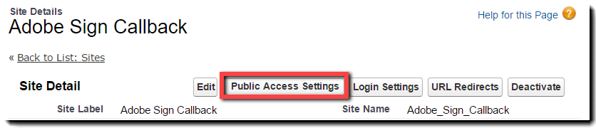 Public Access Settings button