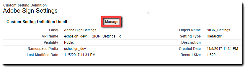 The Adobe Sign Settings page and Manage button
