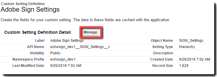 Adobe Sign Settings: Manage