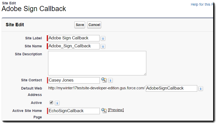 Adobe Sign Callback