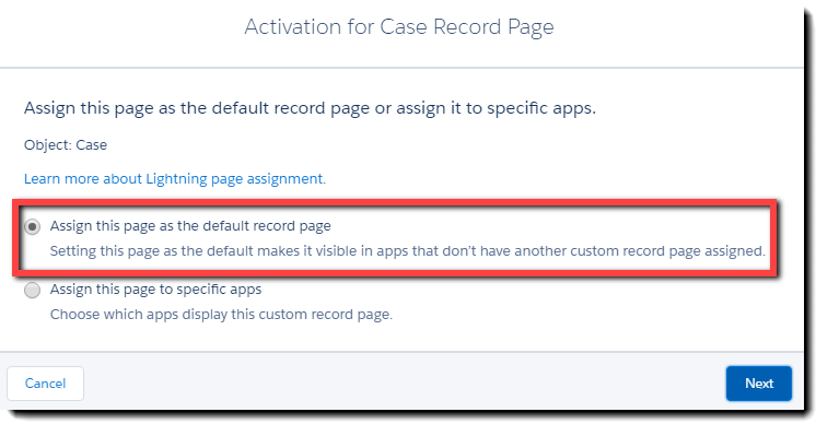 Assign the page as the default layout