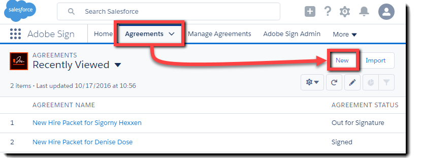 Navigate from the Agreement tab to the New button