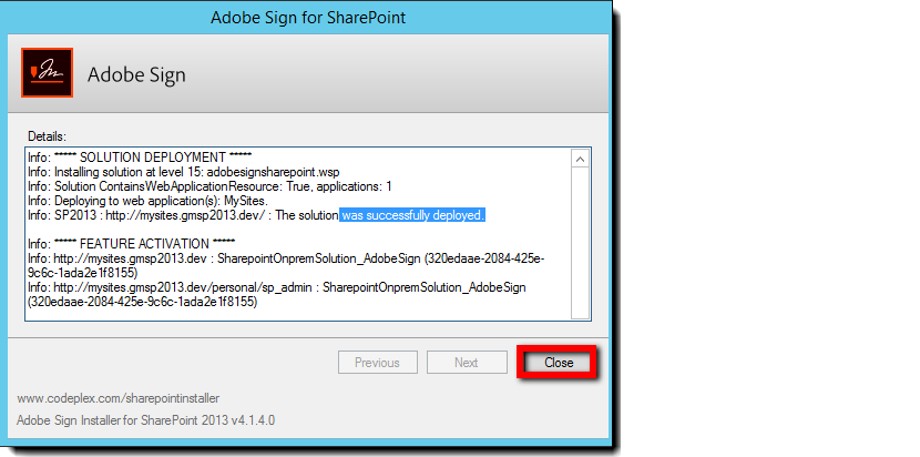 Classic Adobe Sign for SharePoint (On-Premises): Installation Guide