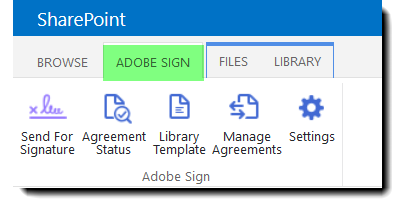 Image of the Adobe Sign icons in the Ribbon