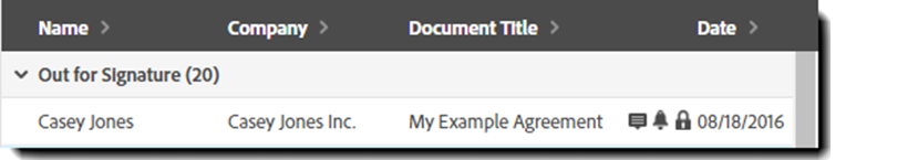 Example record on the Manage page