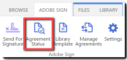 The Agreement Status icon in the Ribbon