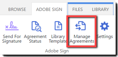 The Manage Agreement icon on the Ribbon