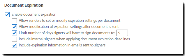 Document Expiration Settings