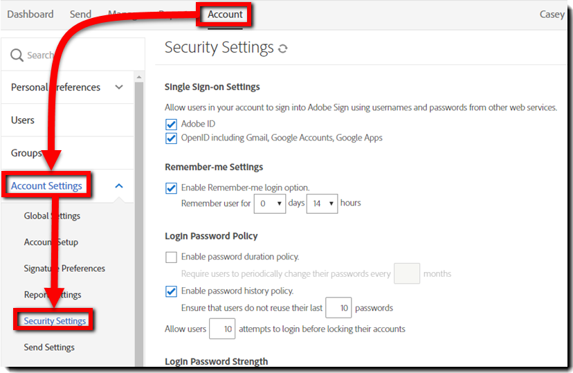 Navigate to Security Settings