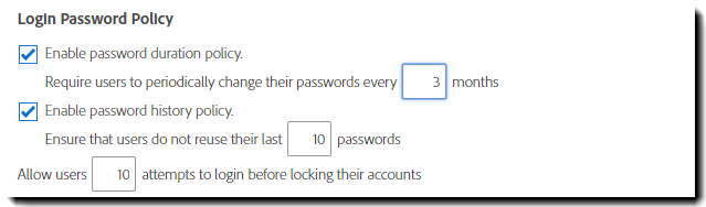 Login Password Policy