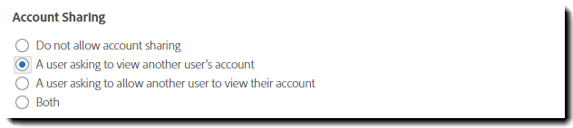 Account Sharing settings