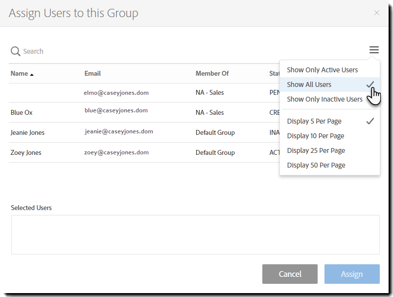 Groups - Assign users to this group