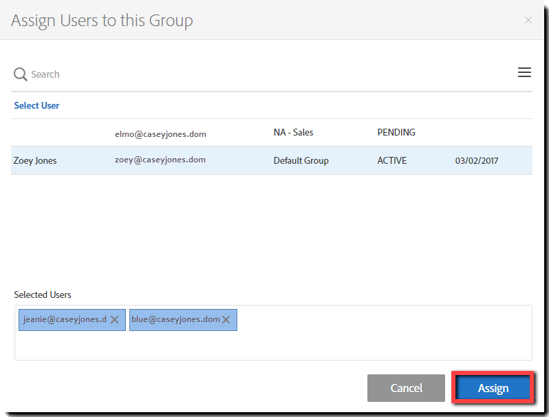 Groups - Assign Users
