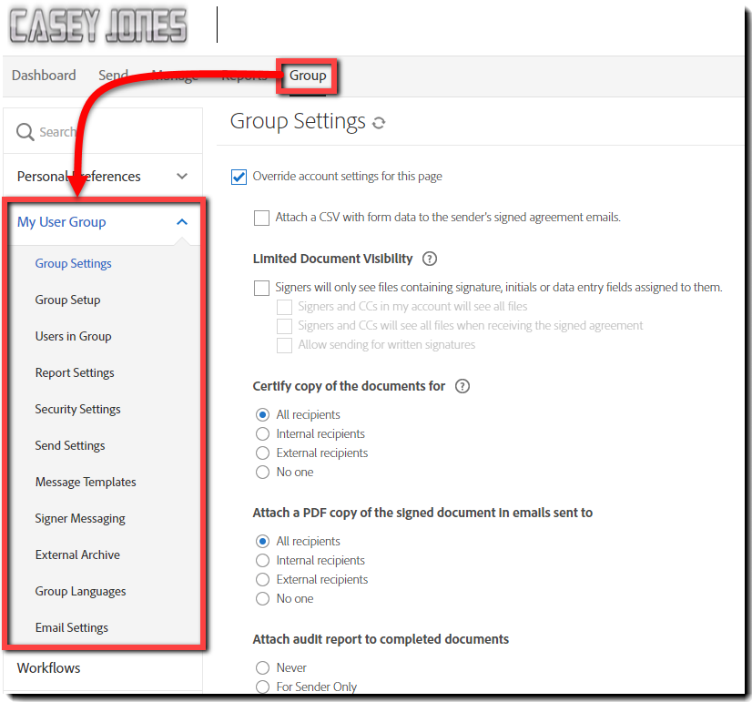 Group Admin link to Group Settings