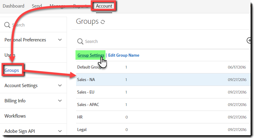 Navigate to Group settings