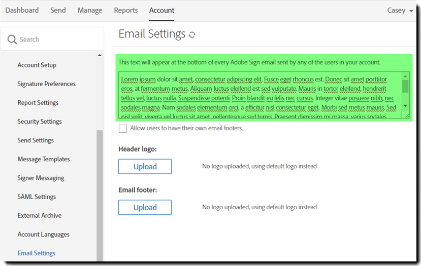 Email Settings Text Footer