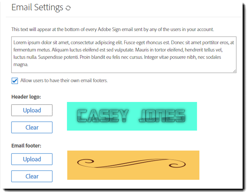Email Header and Footer Image settings