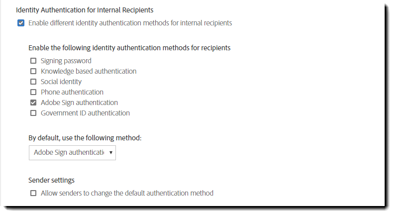 Internal recipient authentication methods