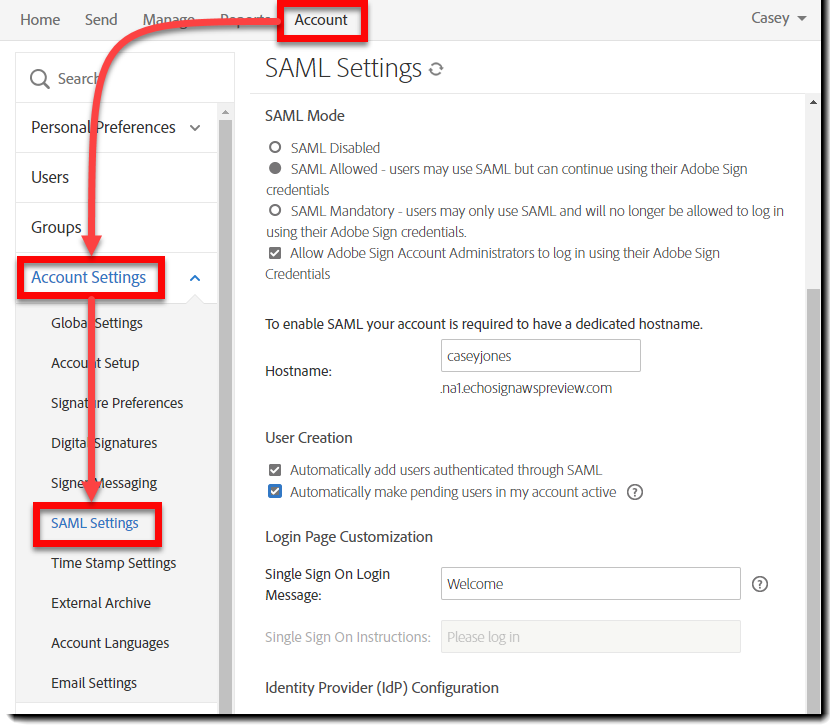 Navigate to SAML settings