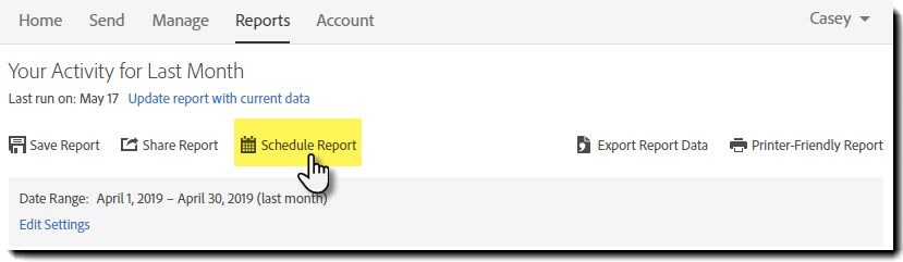 Report page option - Schedule Report