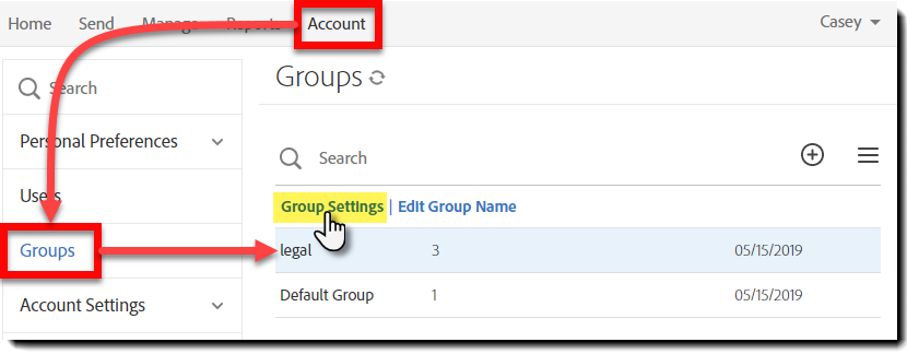 Group Settings Link