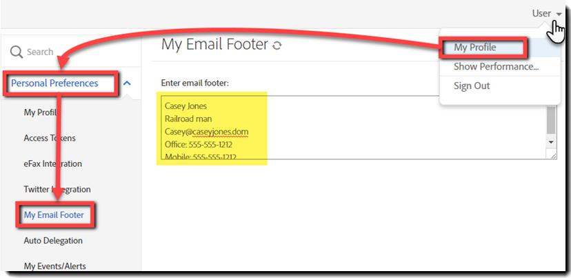 User Footer menu item in the User option tree