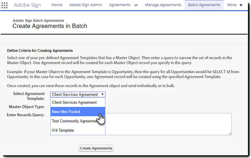The Create Agreements in Batch page
