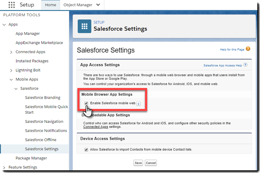 Enable Salesforce1 mobile browser app