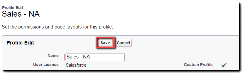 Save the profile settings
