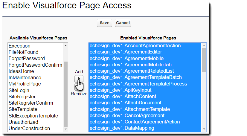 Click Add to move them to the 'Enabled Visualforce Pages' list