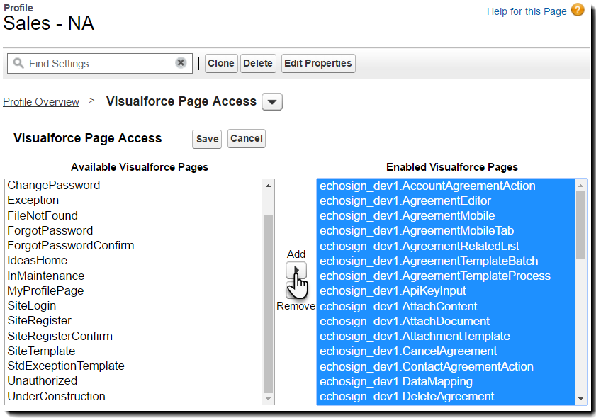 Add all EchoSign visualforce pages