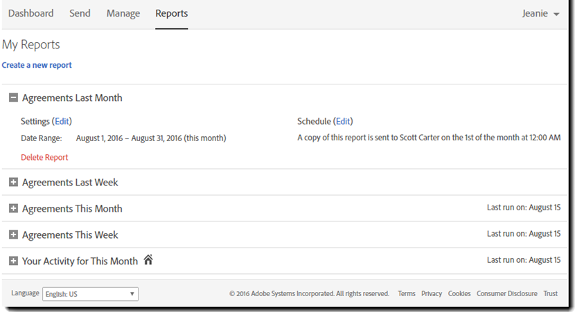 Report page interface