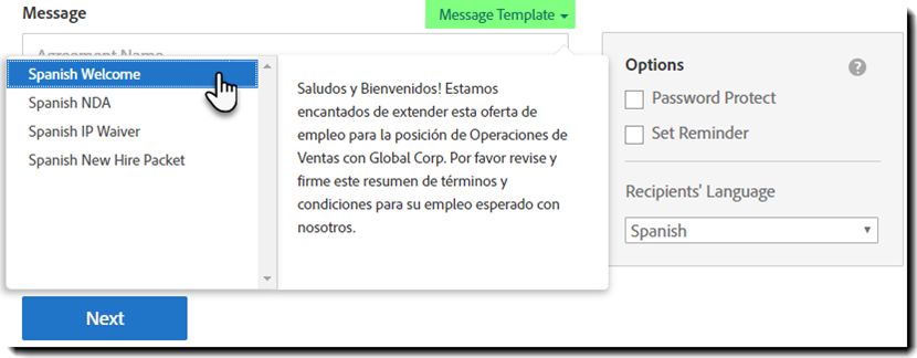 Send - MEssage Templates