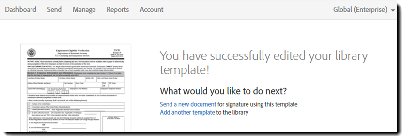Copy an adobe sign template to your personal library a success page will open indicating the template was properly saved 7success congratulations the adobe sign template pronofoot35fo Image collections