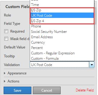 Form field validations