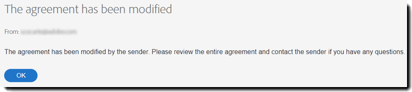 Image of the error message when an agreement has already been signed