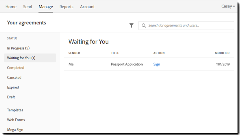 Manage page - waiting for you