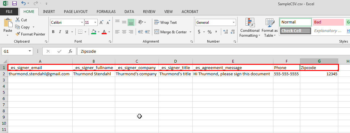 Information tags in CSV