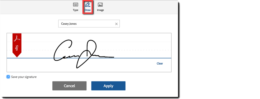 View of the Signature panel with the Draw option highlighted
