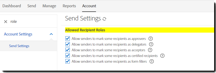 Send Settings page showing the options to enable additional roles