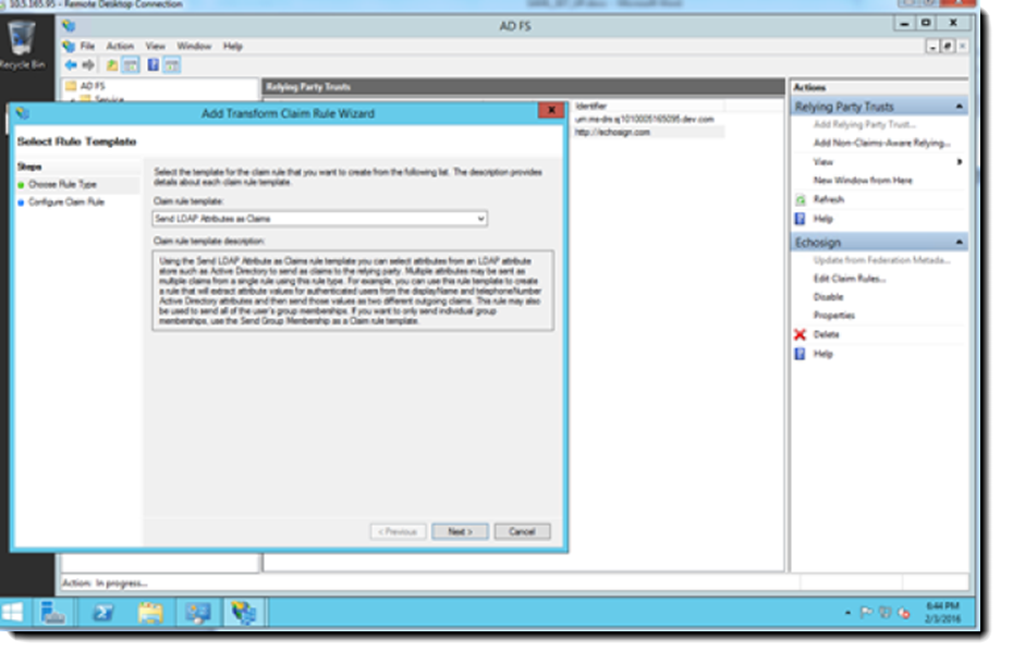 MS AD FS Select Rule Template dialog