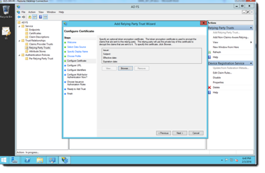 MS AD FS  Configure Certification dialog