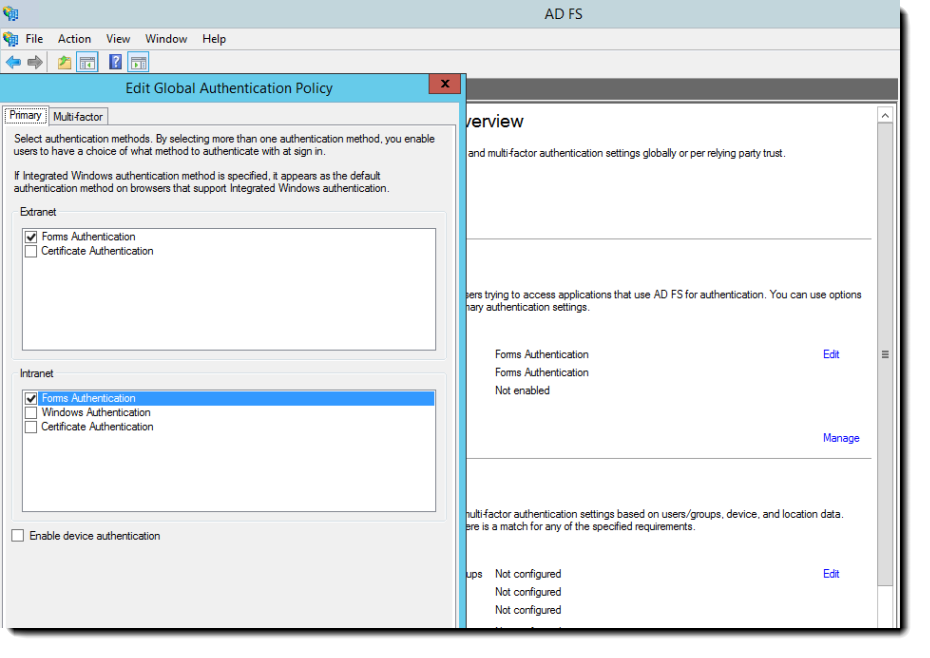 MS AD FS Edit Global Authentication Policy dialog