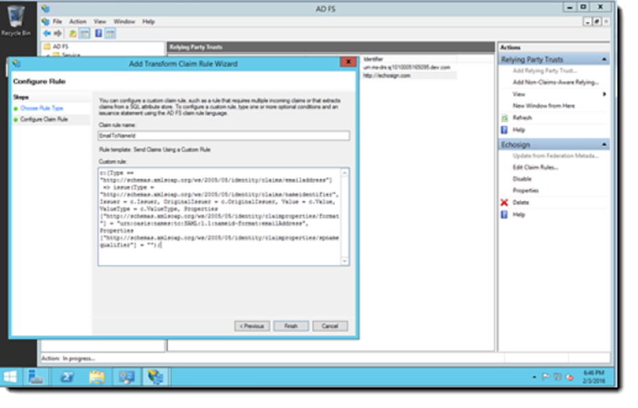 MS AD FS Configure Rule dialog