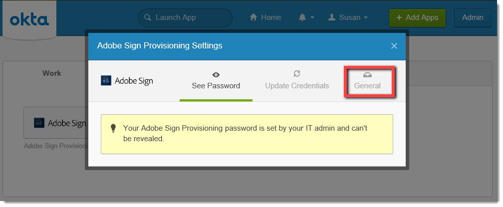Okta Adobe Sign Provisioning Settings popup