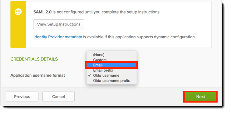 Okta Credential Details section of Sign-On Options